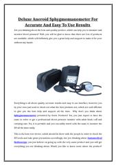 Deluxe Aneroid Sphygmomanometer For Accurate And Easy To Use Results.doc