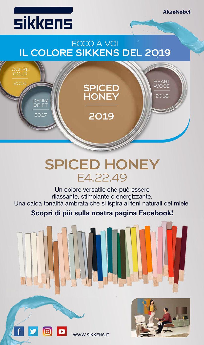 Ecco a voi il colore sikkens 2019 - spiced honey 2019 e4.22.49 - un colore versatile che può essere rilassante, stimolante o energizzante. Una calda tonalità ambrata che si ispira ai toni naturali del miele. Scopri di più sulla nostra pagina facebook