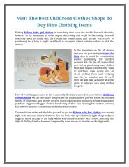 Visit The Best Childrens Clothes Shops To Buy Fine Clothing Items.doc